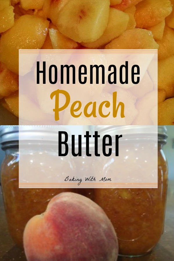Homemade Peach Butter in jars with peeled peaches