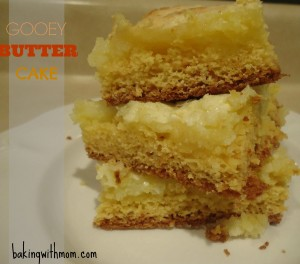 Gooey Butter Cake 3 pieces sitting on a white plate