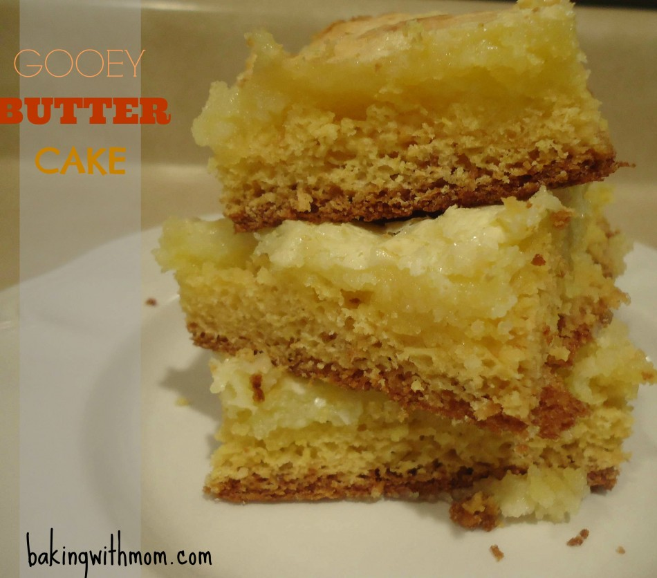 Gooey Butter Cake 3 pieces on a white plate on a countertop