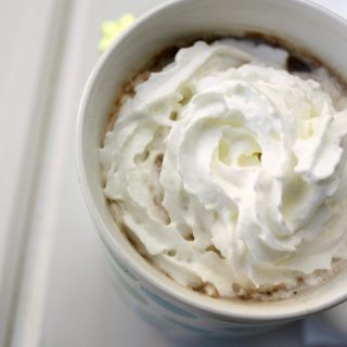 Homemade hot chocolate mix in a white cup with whipped cream on top