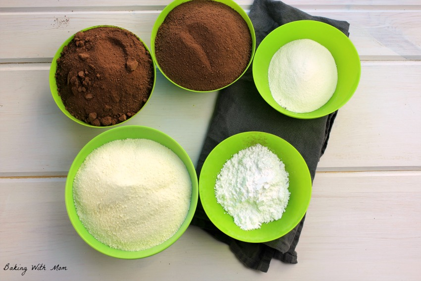 Chocolate, creamer ingredients in green bowls