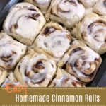 Easy Homemade Cinnamon Rolls in a cake pan with white frosting