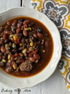 So Easy Taco Soup in a white bowl