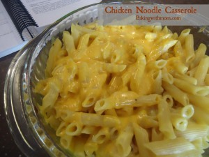 Chicken noodle casserole recipe has gooey cheese, delicious chicken and noodles for a satisfying supper dish