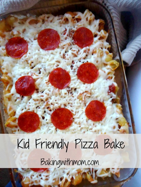 Kid friendly pizza bake is a kid friendly casserole recipe full of favorite pizza toppings.