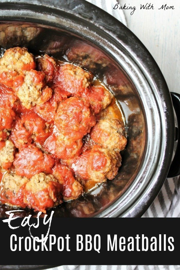 Easy Crockpot BBQ Meatballs in a black crockpot