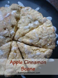 Apple Cinnamon Scone with white frosting drizzled on top