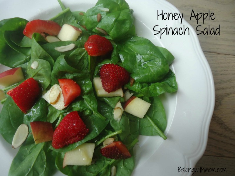 Honey Apple Spinach Salad with crunchy apples, strawberries and almonds. Great salad to enjoy for your lunch.