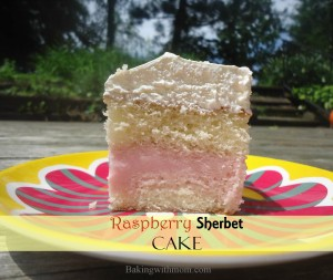 Raspberry Sherbet Cake layered sherbet with white cake and topped with whipped topping