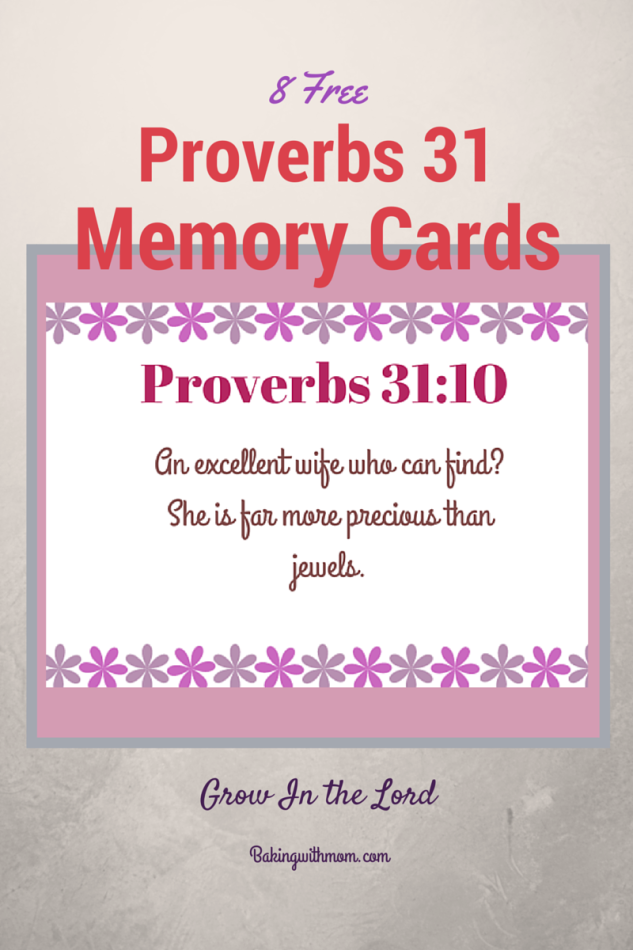 Proverbs 31 Printable Memory Verse Cards