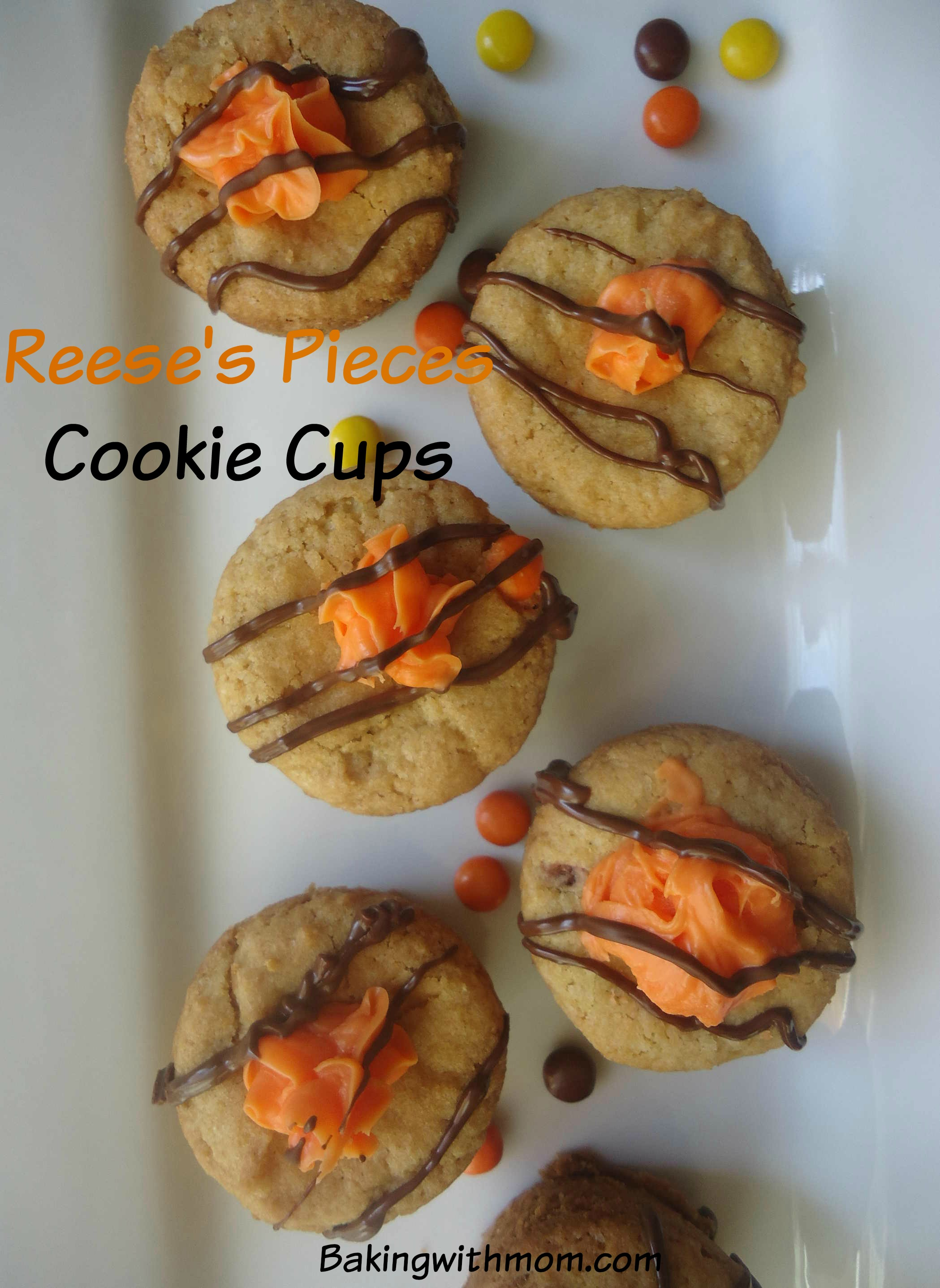 Reese's Pieces Cookie Cups a rich peanut butter cookie great for kid's snacks or dessert