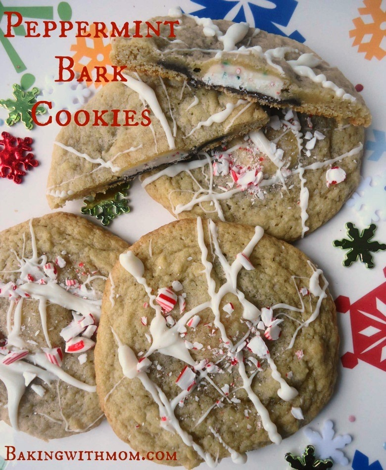 Peppermint bark cookies with mint, peppermint sprinkles and almond bark drizzle