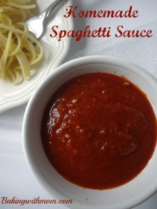 Homemade Spaghetti Sauce with tomato sauce, garlic and hamburger. Easy to make on the stove.