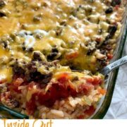 inside out stuffed pepper casserole in a baking dish and a serving spoon