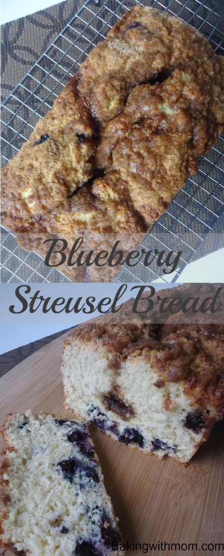 Blueberry bread with streusel on top
