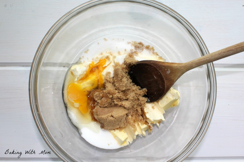 Brown sugar, white sugar in mixing bowl for cookie dough