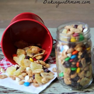 trail mix in a jar and in a red tin