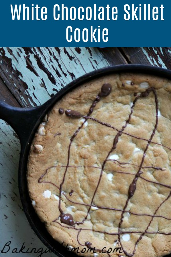 White Chocolate Skillet Cookie in an cast iron skillet