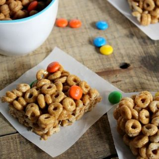 Caramel Cheerios Bars with M&M'S and caramel marshmallows