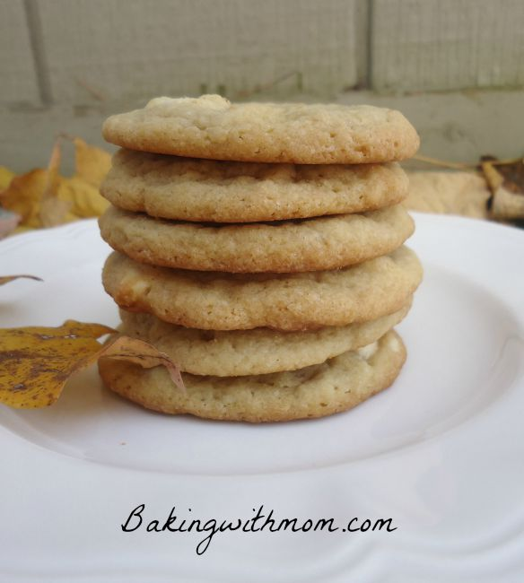 soft and chewy white chocolate chip cookies on a white plate
