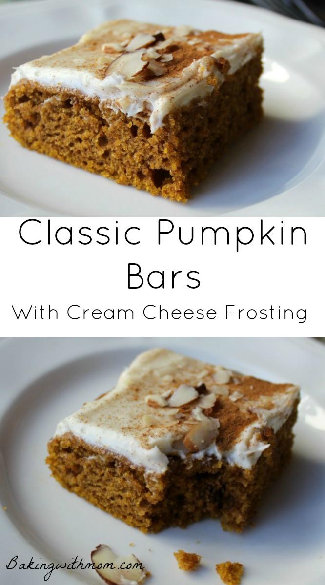 Classic pumpkin bars recipe with cinnamon and pumpkin. Fall dessert