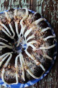 Smore's Bundt Cake with marshmallow cream filling