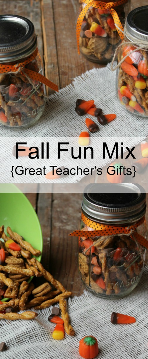 Fall Fun Mix Recipe in glass jars with orange and black ribbon