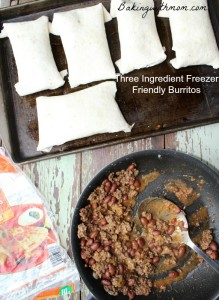 Freezer Friendly Burritos recipe 3 ingredients and freezes wonderfully for quick lunches and on the go meals.