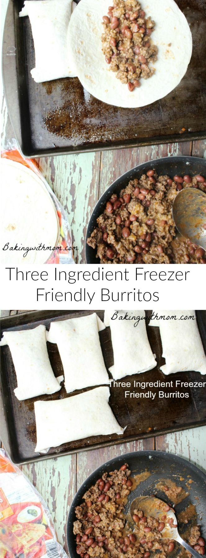 3 Ingredient freezer friendly burritos recipe is a great lunch or on the go meal for your family.
