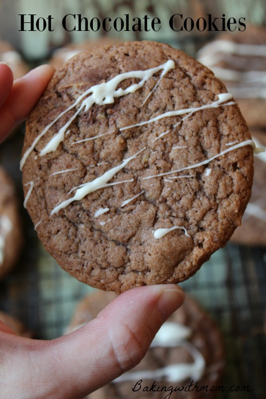 Hot chocolate cookies-enjoy these cookies this winter while you sit by the fire. Great for Christmas