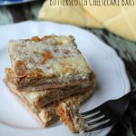 Butterscotch Cheesecake Bars with butterscotch chips, cream cheese and graham crust