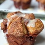 Cobblestone Muffins with apple bits, cinnamon sugar, raisins and drizzled with frosting