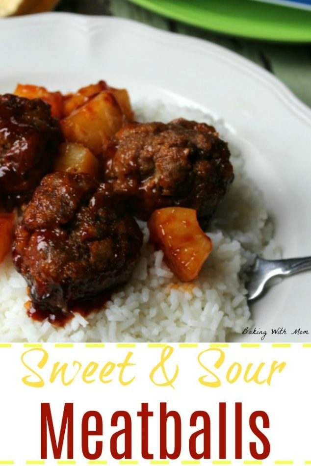 Sweet and Sour Meatballs on a bed of rice with pineapple
