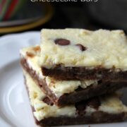 mint and chocolate squares on a white plate