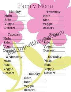 Springtime Menu a great printable for you to plan your menu