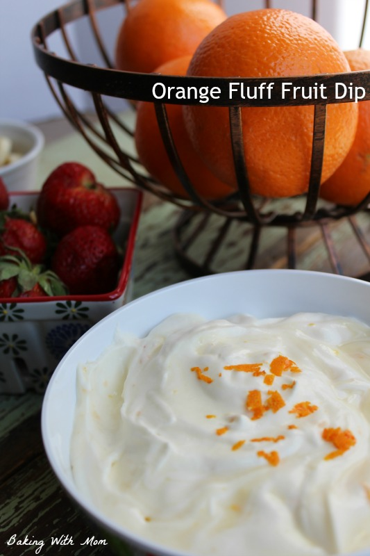 Orange Fluff Fruit Dip recipe-perfect to dip strawberries, bananas or any fruit you choose. Tastes like the popular Orange Julius Yum!