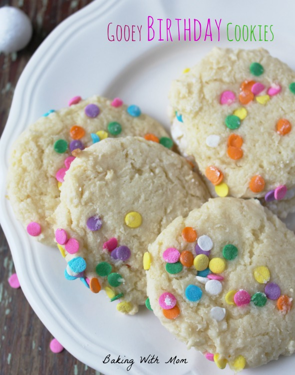Gooey Birthday Cookies are full of sprinkles and fun. Great for a birthday party.Made with a cake mix and cream cheese