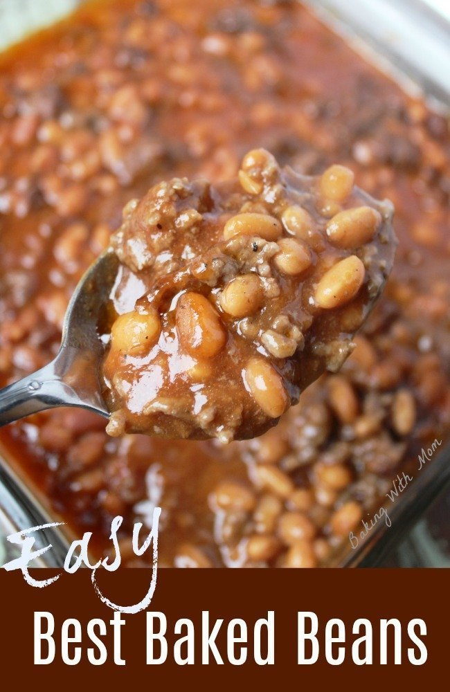 baked beans in a square pan with hamburger