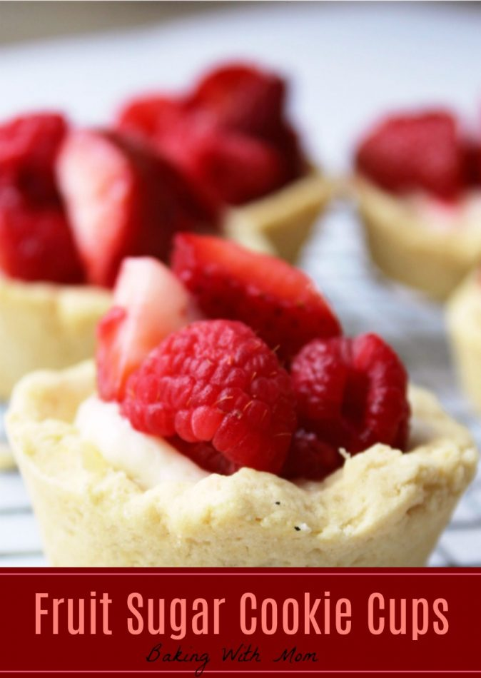 Fruit Sugar Cookie Cups with strawberry and raspberry in a cookie base