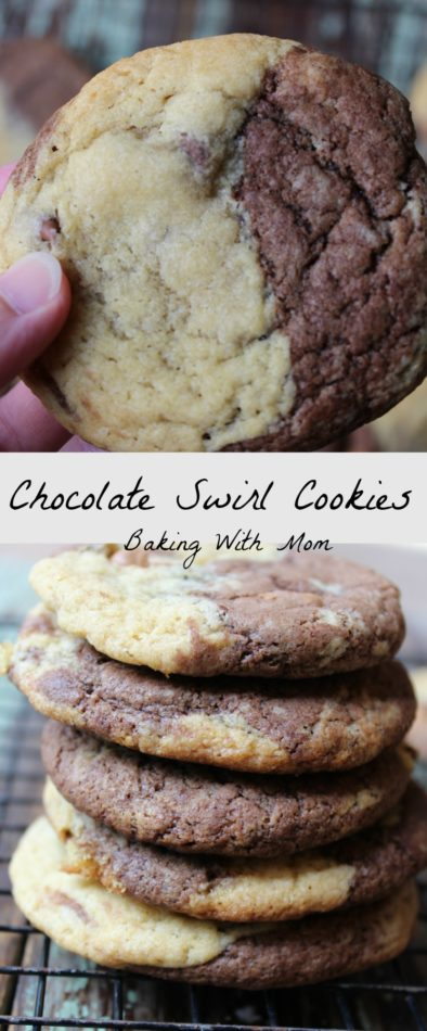Chocolate Swirl Cookies a blend of chocolate and chocolate chip cookies. Easy to make and done in 15 minutes. Simple!