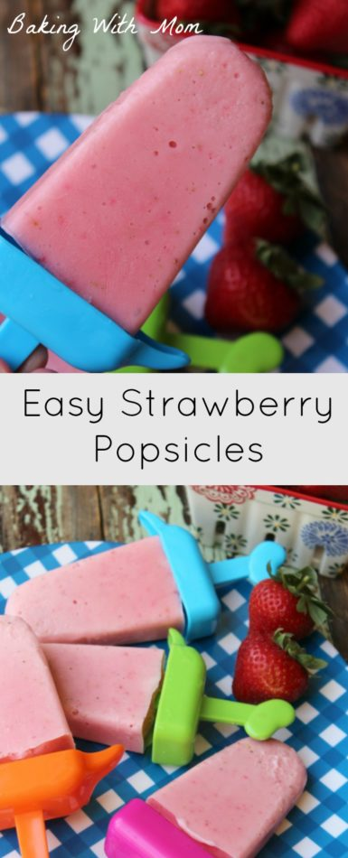 Easy Strawberry Popsicles a summer recipe with 3 ingredients. Delicious and your kids will love them!