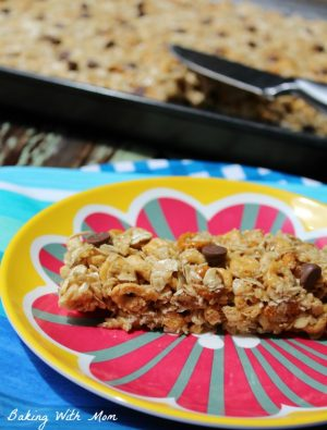 granola bar with chocolate chips on a colorful plate