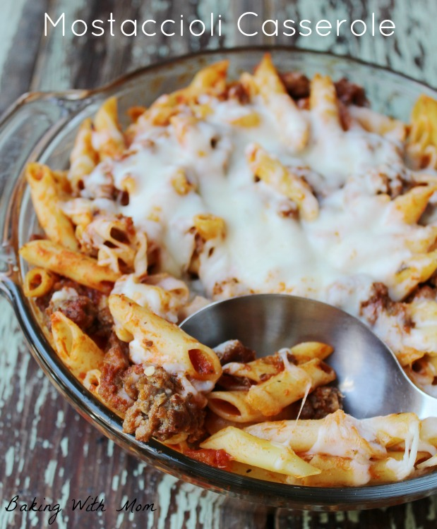 Easy Mostaccioli Casserole is an on the go supper recipe #ad #CampbellSavings