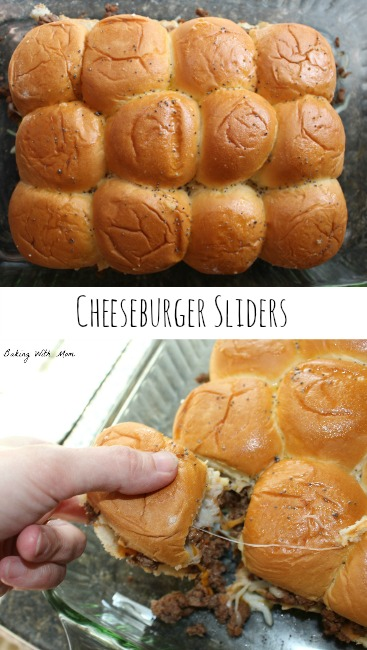 Cheeseburger Sliders is a crowd pleaser and a family pleaser. Sweet bread with hamburger and tomato sauce topped with cheese