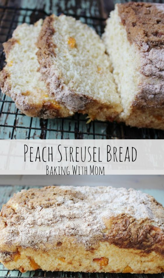 Peach Streusel Bread with fresh peaches, cinnamon and brown sugar make a great breakfast or snack. Pack in a school lunch for a delicious treat