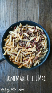 Homemade Chili Mac in a skillet