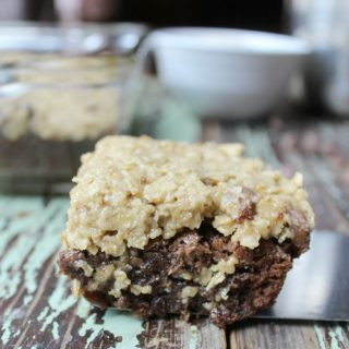 brownie with oatmeal cookie topping