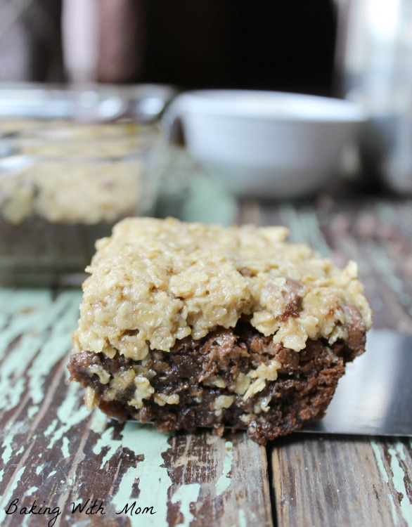 Oatmeal Cookie Dough Brownies with gooey chocolate brownie topped with a oatmeal cookie dough