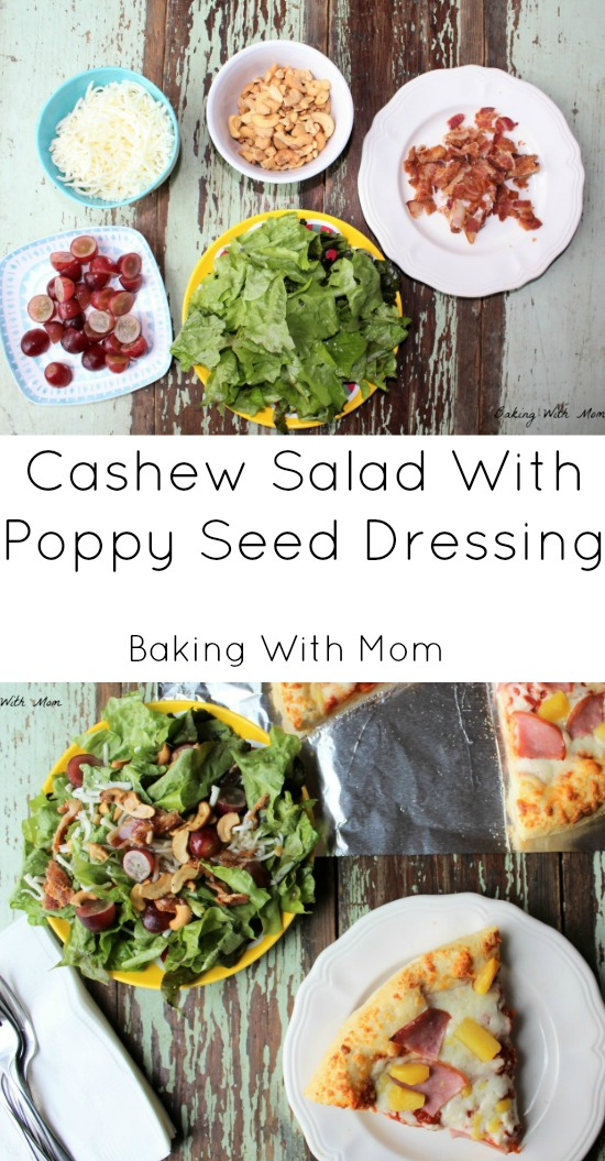 Cashew Salad With Poppy Seed Dressing #ad #FreschettaFresh made with cashews, bacon and grapes topped with a delicious poppy seed dressing
