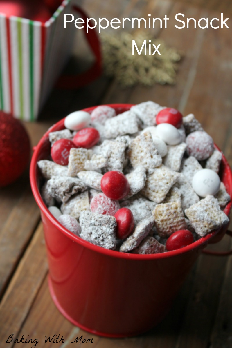 Peppermint Snack Mix with chocolate, peppermint, peanut butter and M&M'S